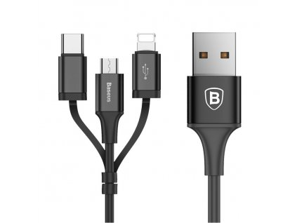 Baseus Excellent USB datový kabel 3v1 Micro USB / Micro USB-C / Apple Lightning 1,2m / 2A