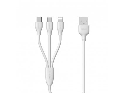 REMAX RC-109th USB kabel 3v1 Micro USB / Micro USB-C / Lightning - bílý