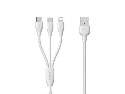 REMAX RC-109th USB kabel 3v1 Micro USB / Micro USB-C / Lightning - bílý