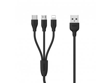 REMAX RC-109th USB kabel 3v1 Micro USB / Micro USB-C / Lightning - černý