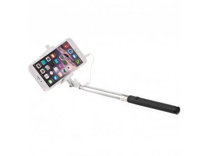 Univerzální selfie tyč s kabelem 3,5 mm a ovládacím tlačítkem, černá