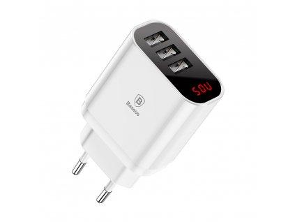 Baseus Mirror Lake inteligentní nabíječka 3 x USB (3,4A) bílá CCALL-BH02