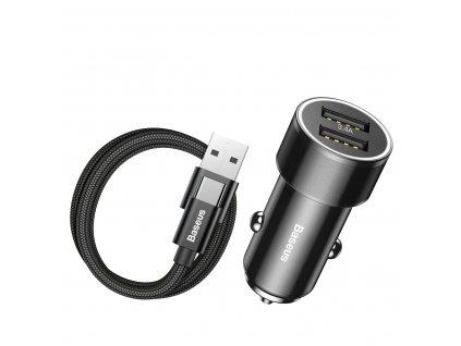 Baseus Small Screw / iteligentní nabíječka 2 x USB + Kabel USB-C (3,4A) černá TZXLD-B01