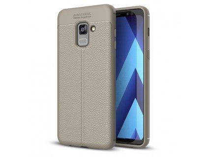 Pouzdro Litchi Case pro Samsung A530 Galaxy A8 2018 šedé