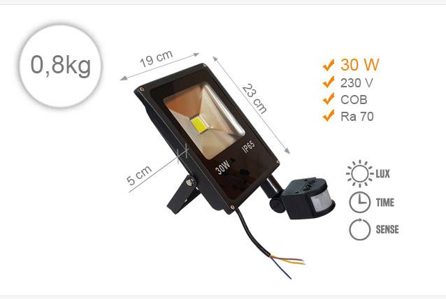 Jihočeská reklama LED REFLEKTOR (Černý) - 30 W (s pohybovým čidlem)