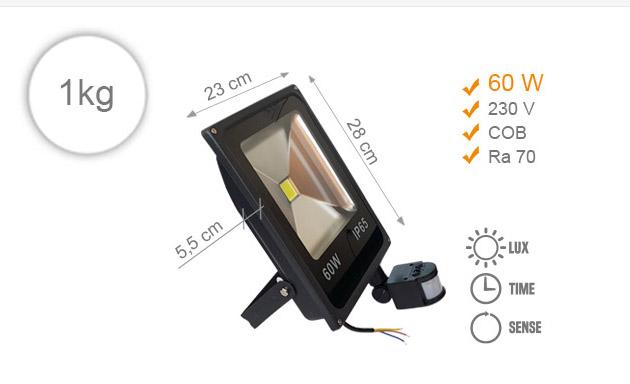 Jihočeská reklama LED REFLEKTOR (Černý) - 60 W (s pohybovým čidlem)