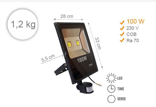 Jihočeská reklama LED REFLEKTOR (Černý) - 100 W (s pohybovým čidlem)