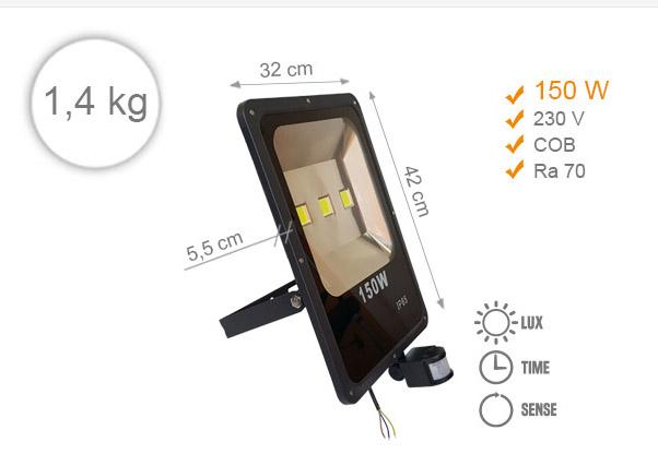 Jihočeská reklama LED REFLEKTOR (Černý) -150 W (s pohybovým čidlem)