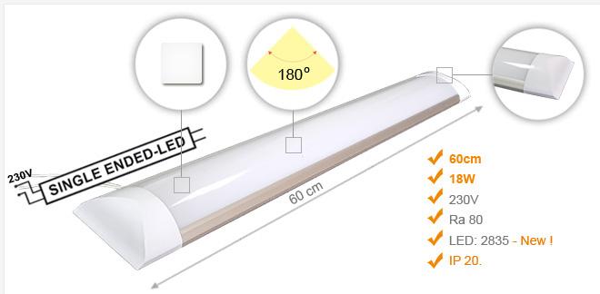 Jihočeská reklama Lineární LED Osvětlení (IP20) ECONOMIC / 18 W - 60 cm