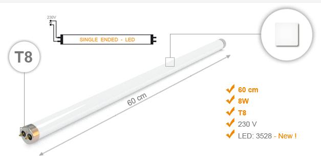 Jihočeská reklama Zářivka LED / GLASS - T8 (60 cm) - 8 W - Bílá Neutral (Single Ended)