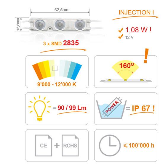 Jihočeská reklama MODUL LED (2835) INJECTION 3 diody - BÍLÁ (EXTRA STUDENÁ)
