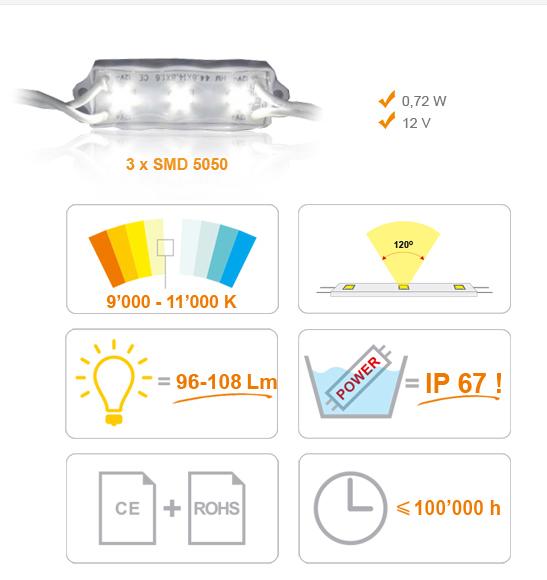 Jihočeská reklama MODUL LED (5050) 3 diody - BÍLÁ (EXTRA STUDENÁ)