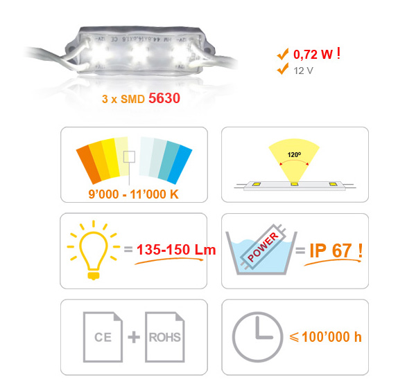 Jihočeská reklama MODUL LED (5630) 3 diody - BÍLÁ (EXTRA STUDENÁ)