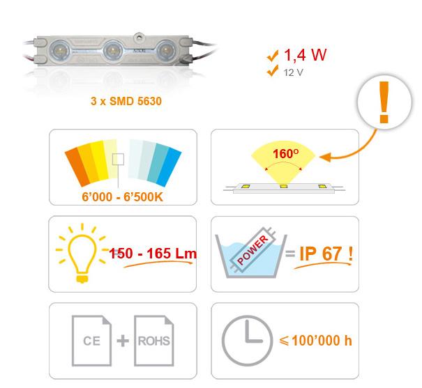Jihočeská reklama SAMSUNG - MODUL LED (5630) 3 diody - BÍLÁ (STUDENÁ)