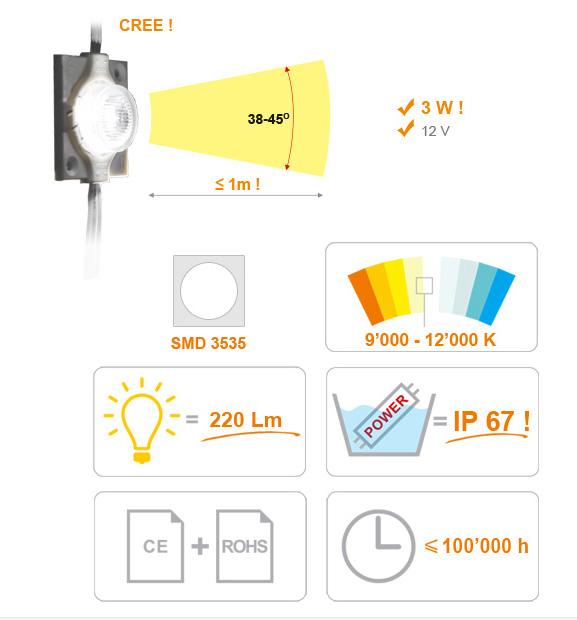 Jihočeská reklama MODUL LED - čočkovitý - 2,8W - (3535) - BÍLÁ (STUDENÁ) - 3W