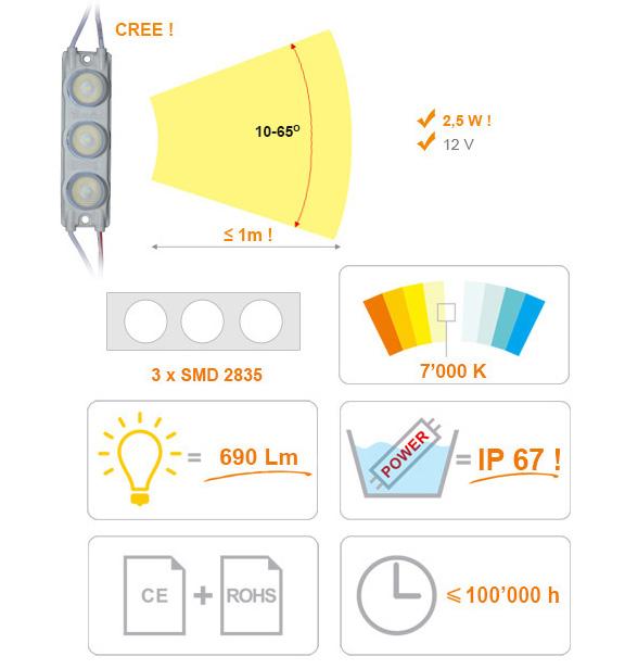 Jihočeská reklama MODUL LED - čočkovitý - 3x LED - BÍLÁ (EXTRA STUDENÁ) - 2,5 W