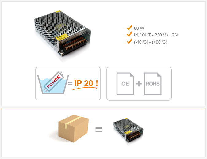 Jihočeská reklama ZDROJ pro LED - 60 W (IP 20)