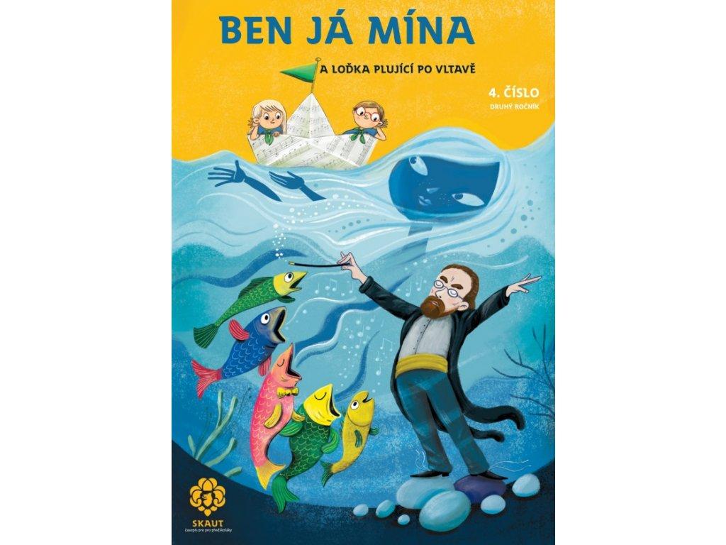 Junák Časopis Ben Já Mína a loďka plující po Vltavě