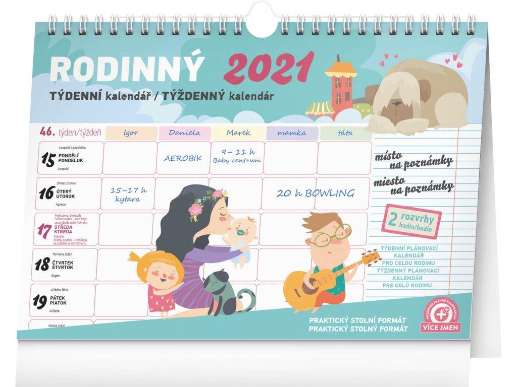 Týdenní rodinný plánovací kalendář s háčkem 2021,
