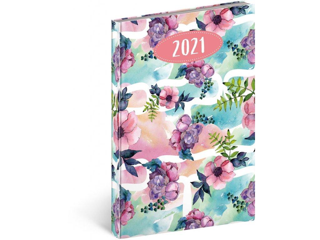 Týdenní diář Cambio Fun 2021, Květiny, 15 × 21 cm