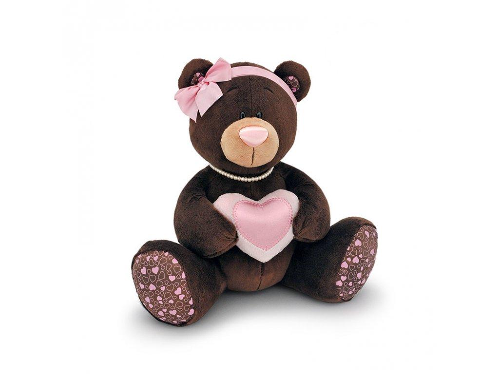 Medvídek MILK SRDÍČKO sedící (25 cm)