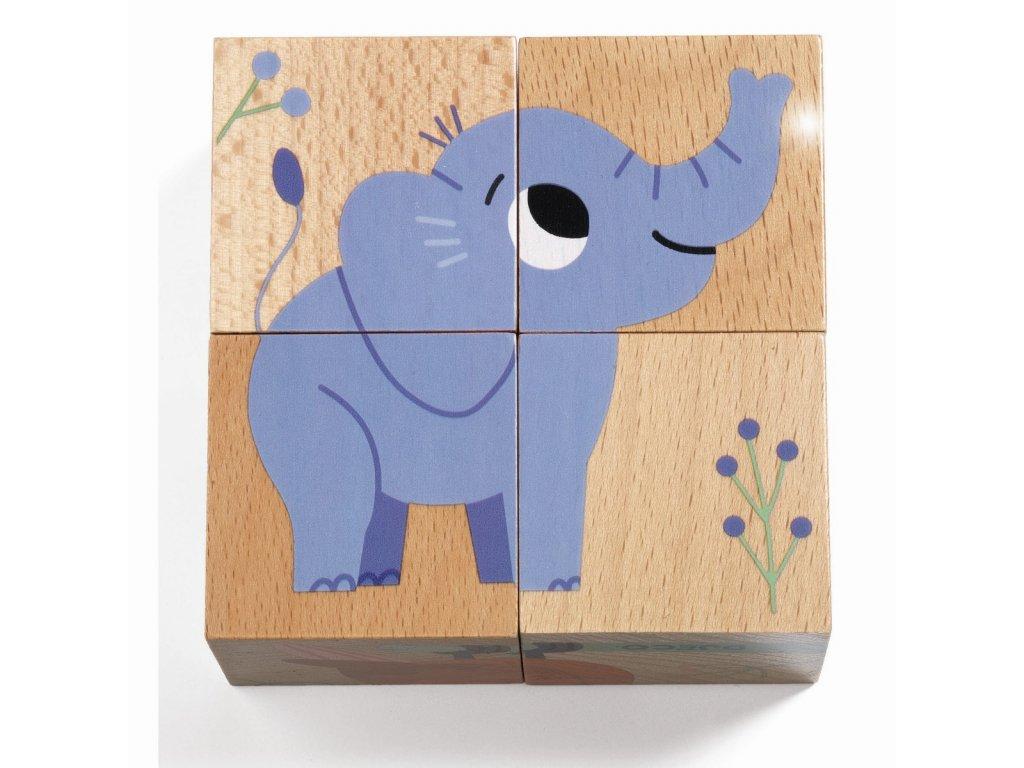 Dřevěné kostky - Zvířata z džungle