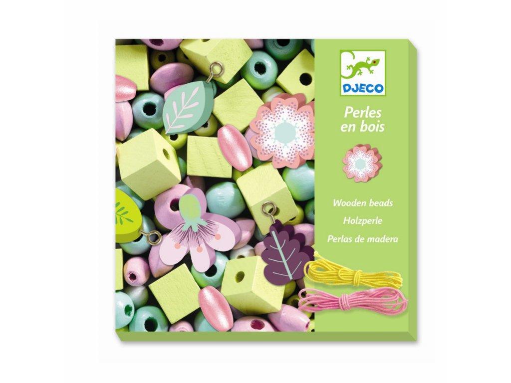 DJECO Dřevěné korálky - Květiny a lístky