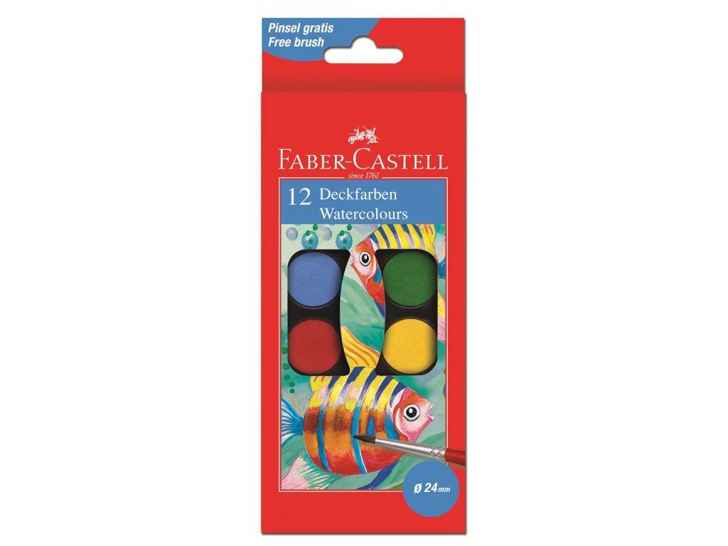 Faber-Castell Vodové barvy 30mm, 12 barev