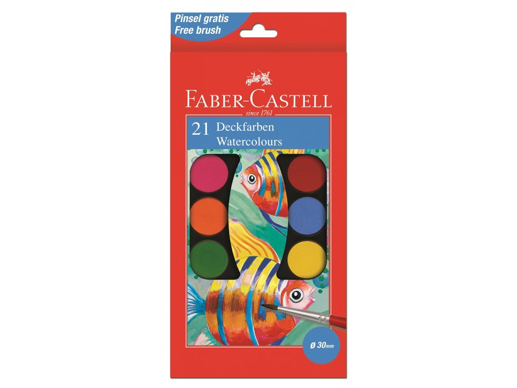 Faber-Castell Vodové barvy 30mm, 21 barev