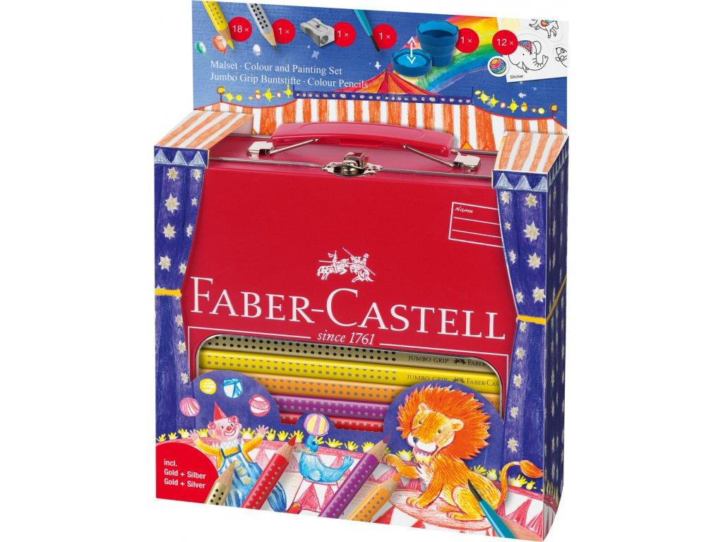 Faber-Castell Pastelka Jumbo GRIP dárkový kufřík Cirkus 18ks+příslušenství