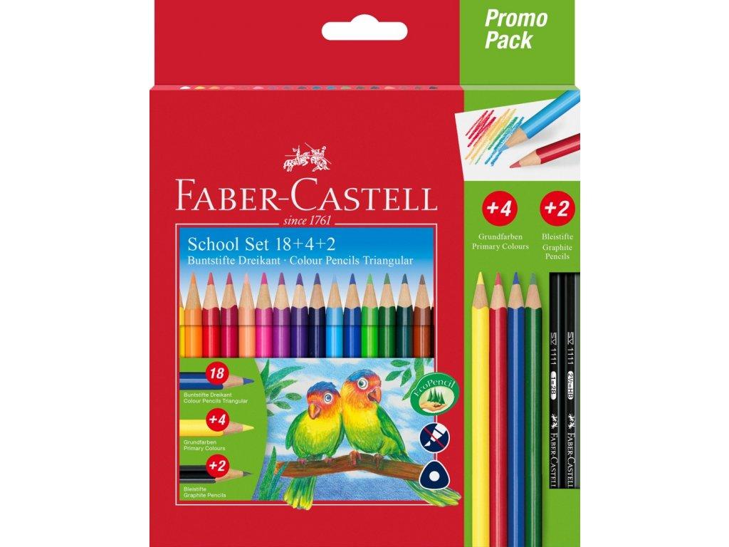 Faber-Castell Pastelky tříhranné PROMO PACK 18ks+4ks+2ks tužek