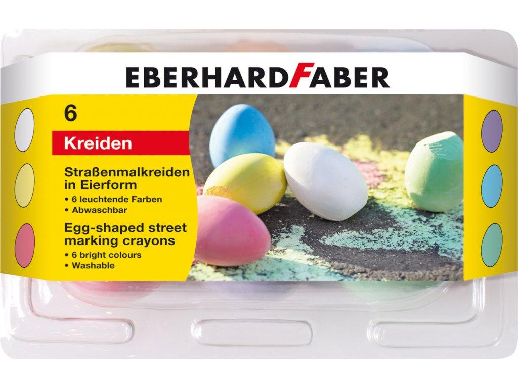 EberhardFaber - Křídy na chodník 6ks, barevné - tvar vajíčka