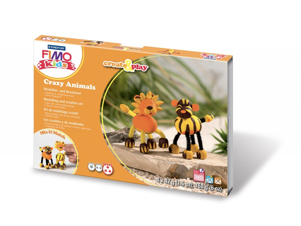 STAEDTLER FIMO kids sada Create and Play LEV a TYGR