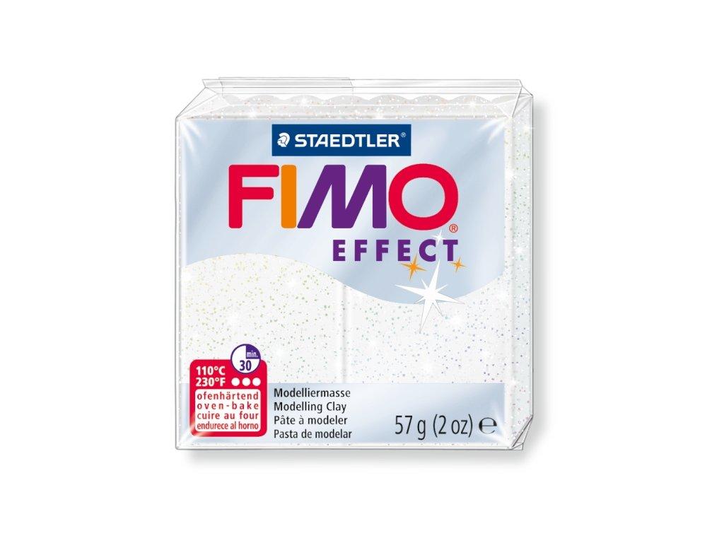 STAEDTLER FIMO efekt bílá se třpytkami 57g