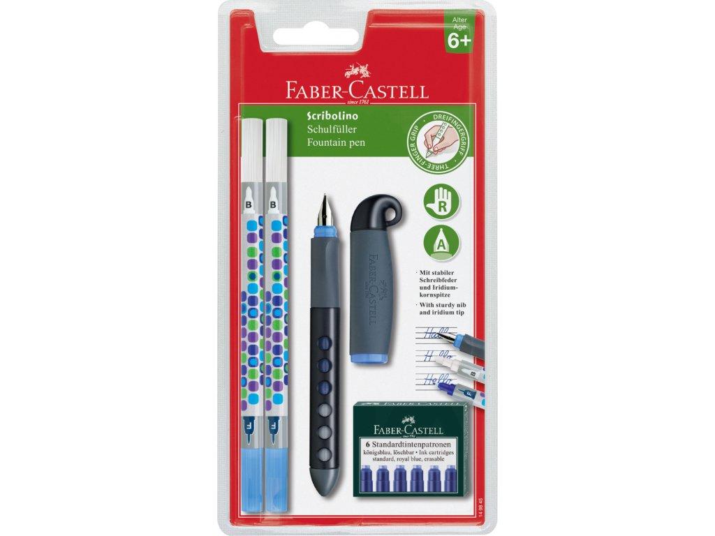 Faber-Castell Školní pln. pero pro praváky+2 zmizíky+bombičky