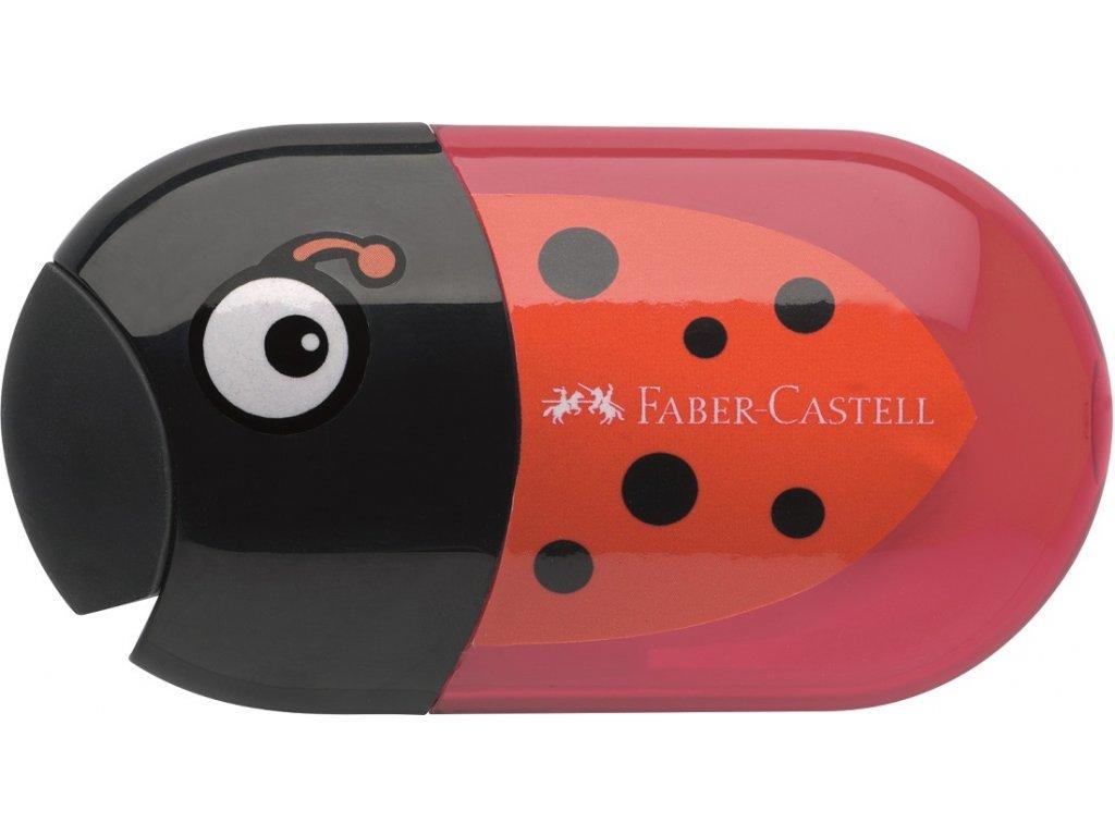 Faber-Castell Ořezávátko Ladybird dvojité+stěrací pryž+zásobník