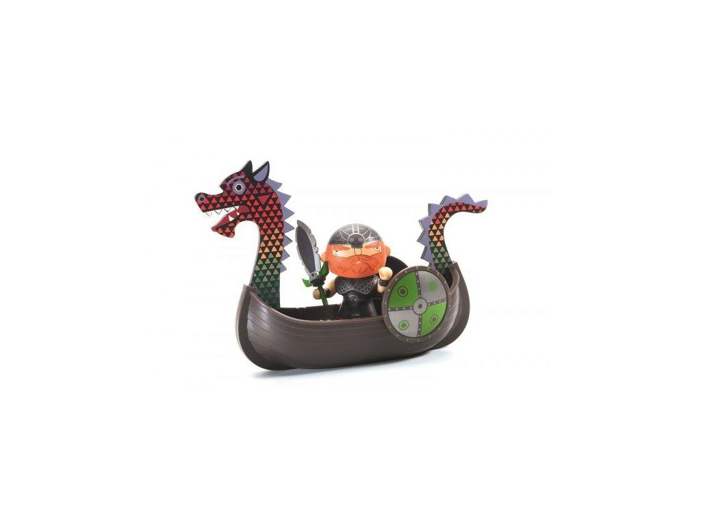 DJECO Pohyblivá figurka - Rudovous a vikingská loď