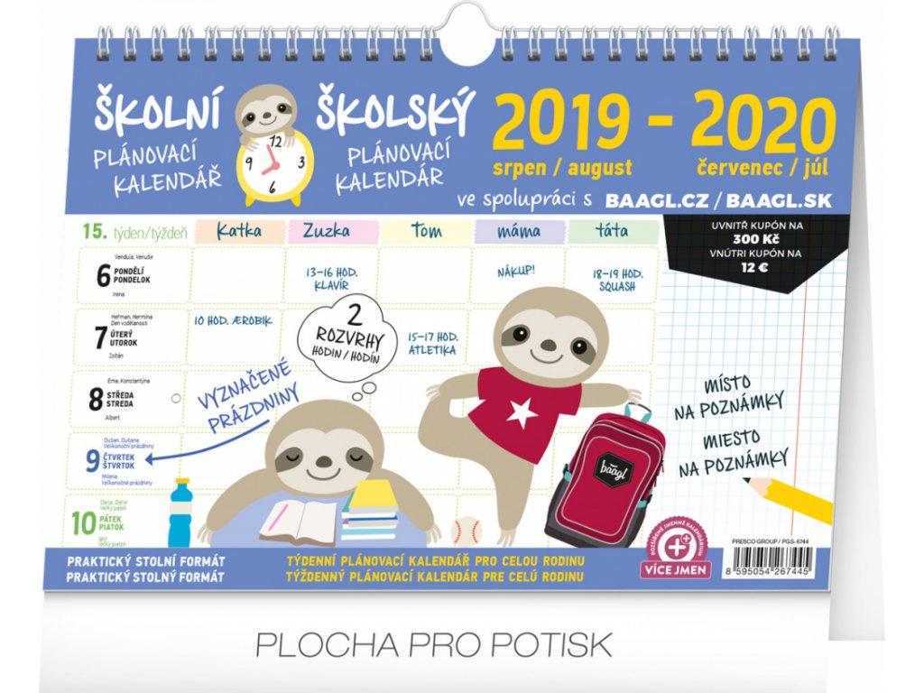 Školní plánovací kalendář s háčkem 2020, 30 × 21 cm