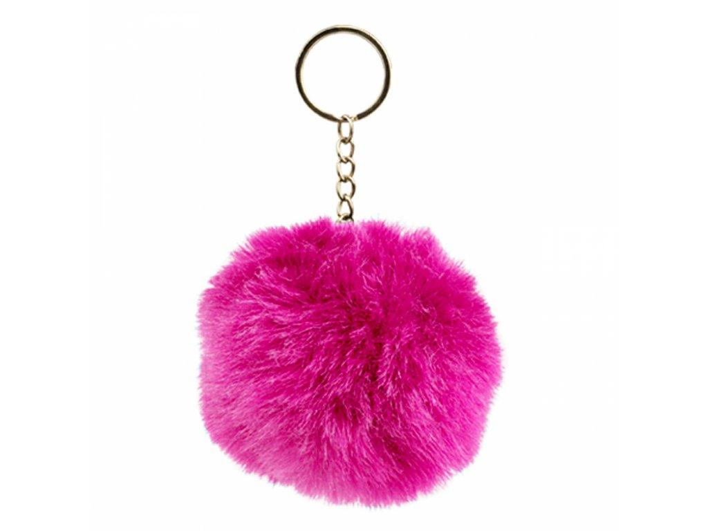 Chlupatý přívěšek na klíče, růžový