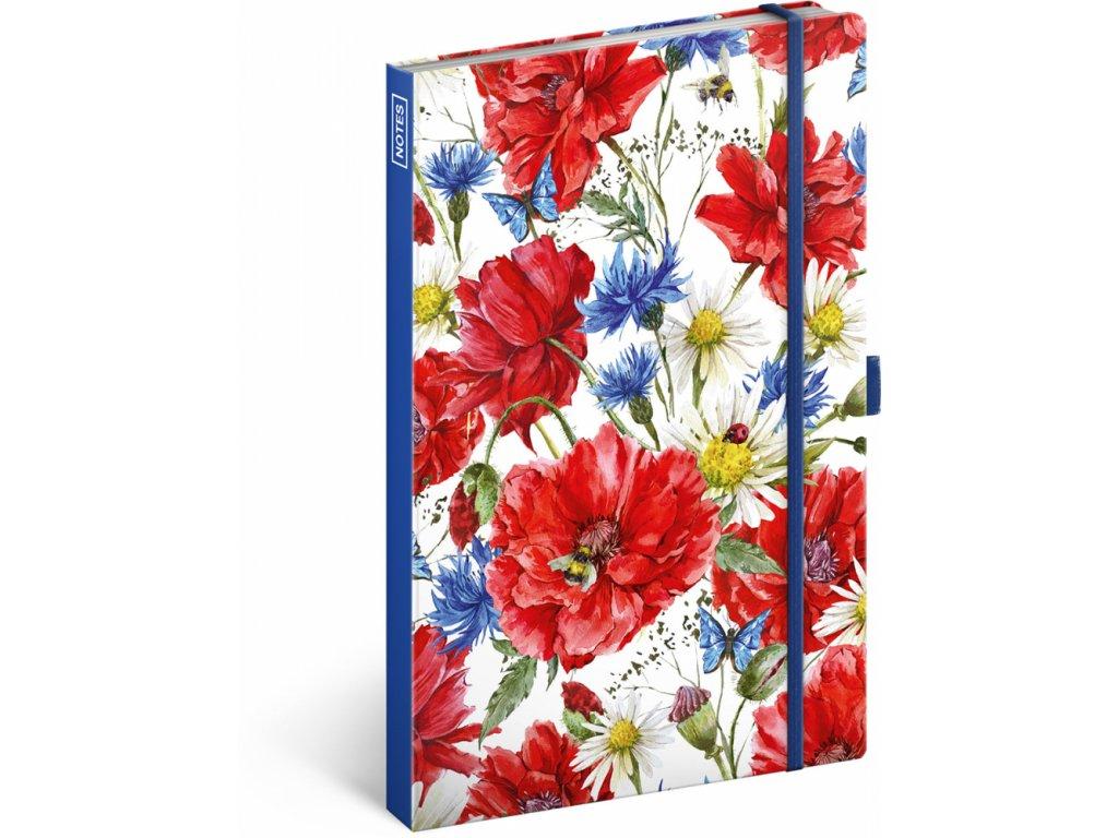 PRESCO GROUP Notes Květiny linkovaný, 13 × 21 cm