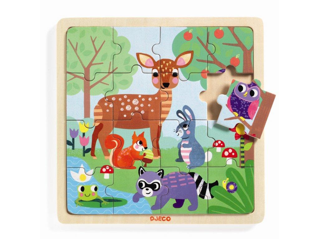 DJECO Dřevěné puzzle - Lesní zvířátka