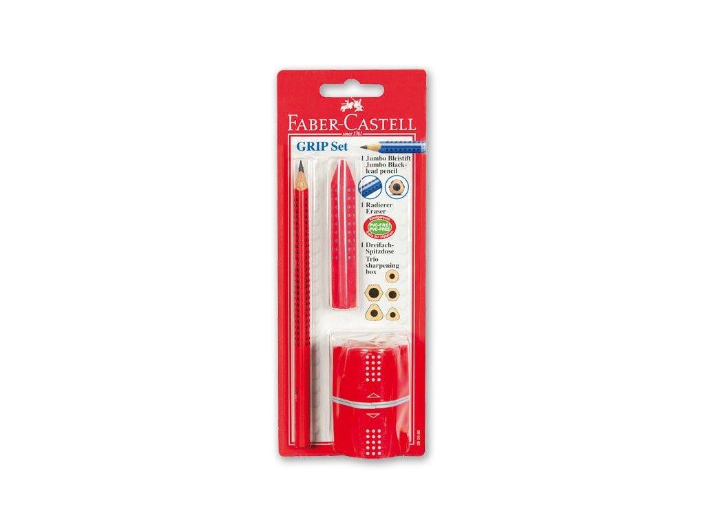 Faber-Castell Jumbo Grip set - tužka Grip Jumbo, pryž Grip a ořezávátko Grip