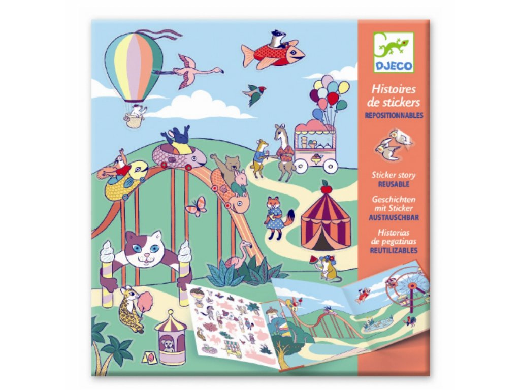DJECO Samolepková kniha s příběhem - Zábavný park