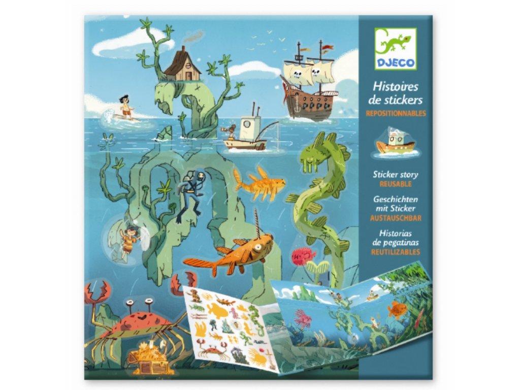 DJECO Samolepková kniha s příběhem - Podmořská dobrodružství