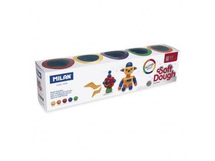Plastelína MILAN Soft Dough glitrové barvy sada 5k