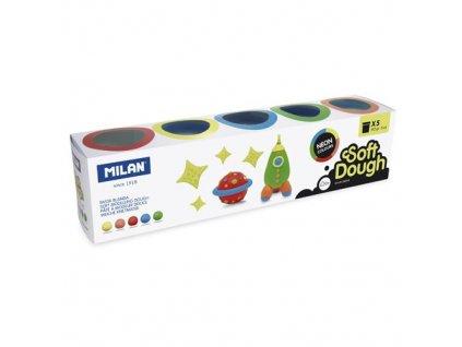 Plastelína MILAN Soft Dough neonové barvy sada 5ks