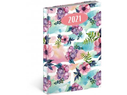 Denní diář Cambio Fun 2021, Květiny, 15 × 21 cm