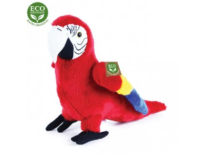 Plyšový papoušek červený Ara, 24 cm, ECO-FRIENDLY