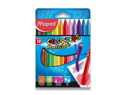 Plastové pastely Maped Color'Peps Plasticlean - 12