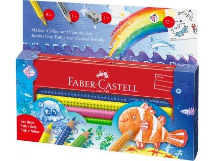 Faber-Castell Pastelka Jumbo GRIP Mořský svět, dárkový kufřík 9ks